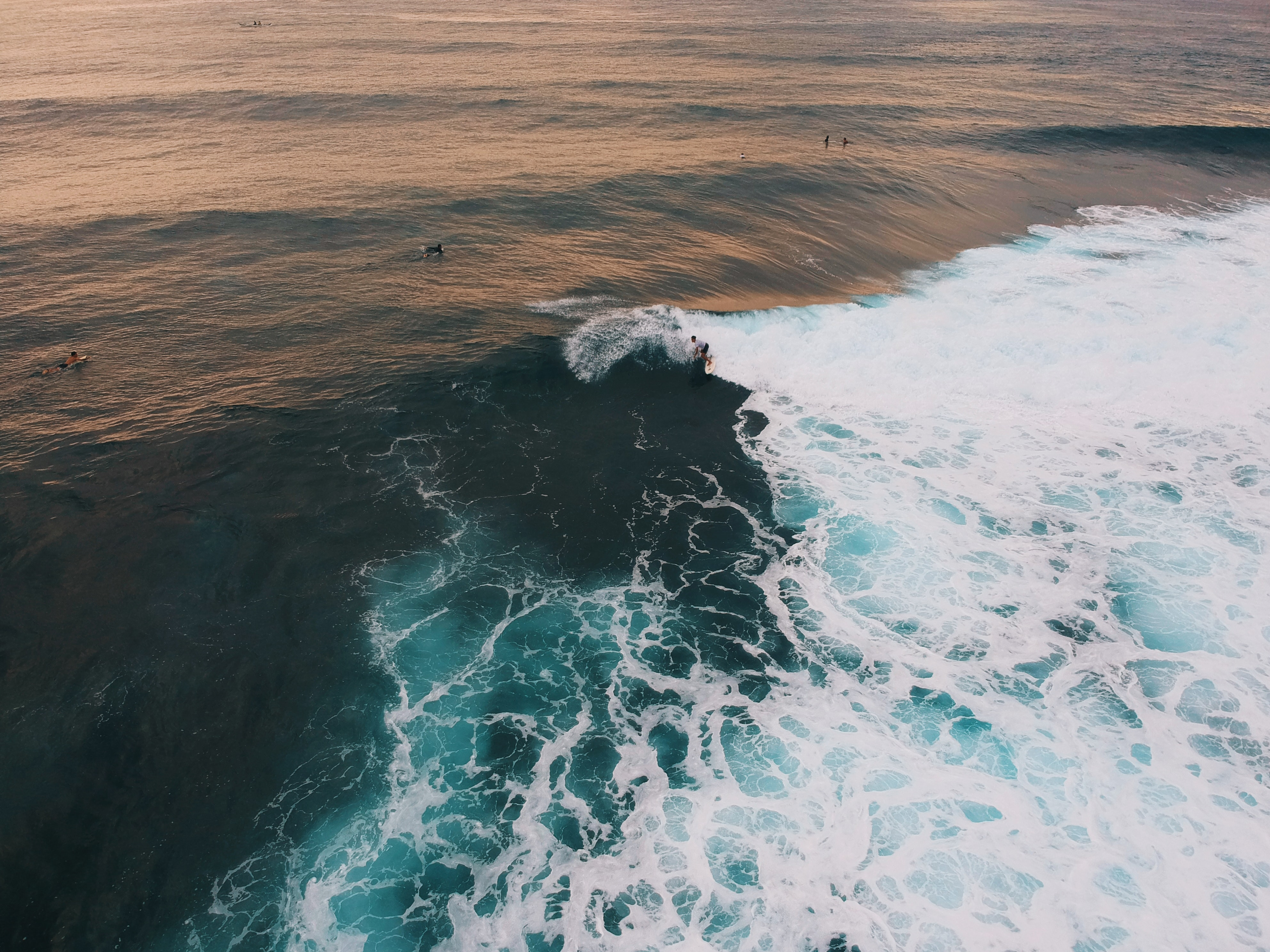 high angle photography of ocean waves