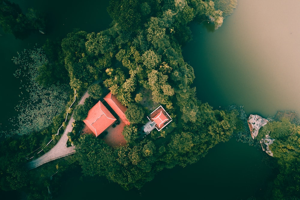 aerial photography of house in islet during daytime