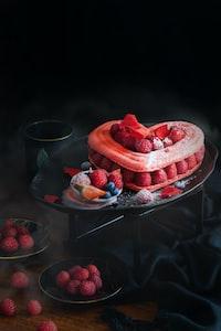 strawberry cake on tray