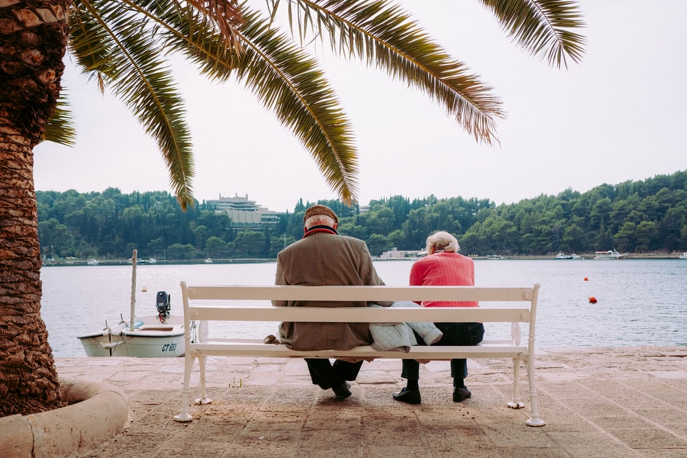 coupe sitting on white bench near body of water