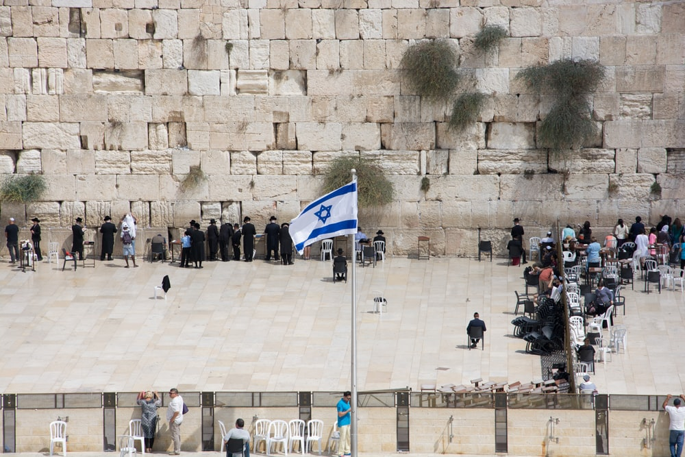 Flag of Israel with pole