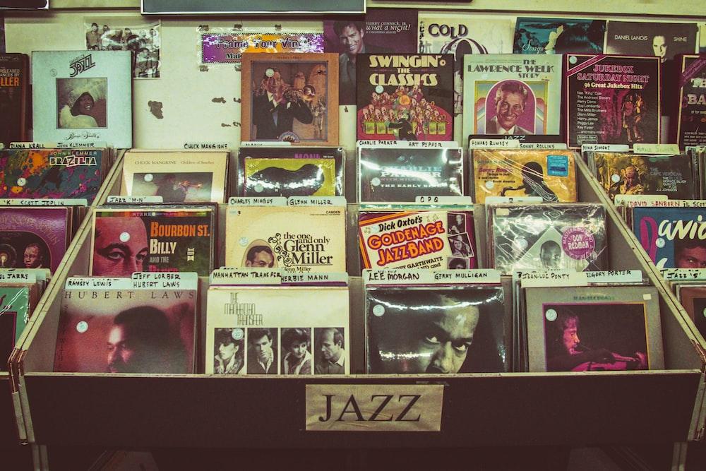assorted Jazz record sleeve lot on rack