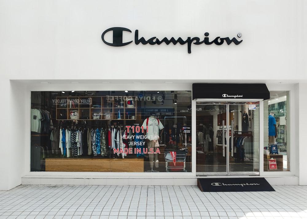 Champion concrete white painted store