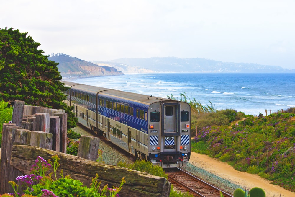 gray and blue train passing near body of water