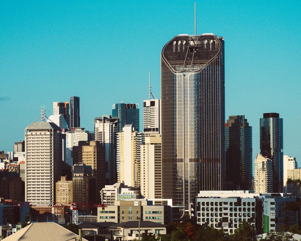 skyscrapers under bright sky