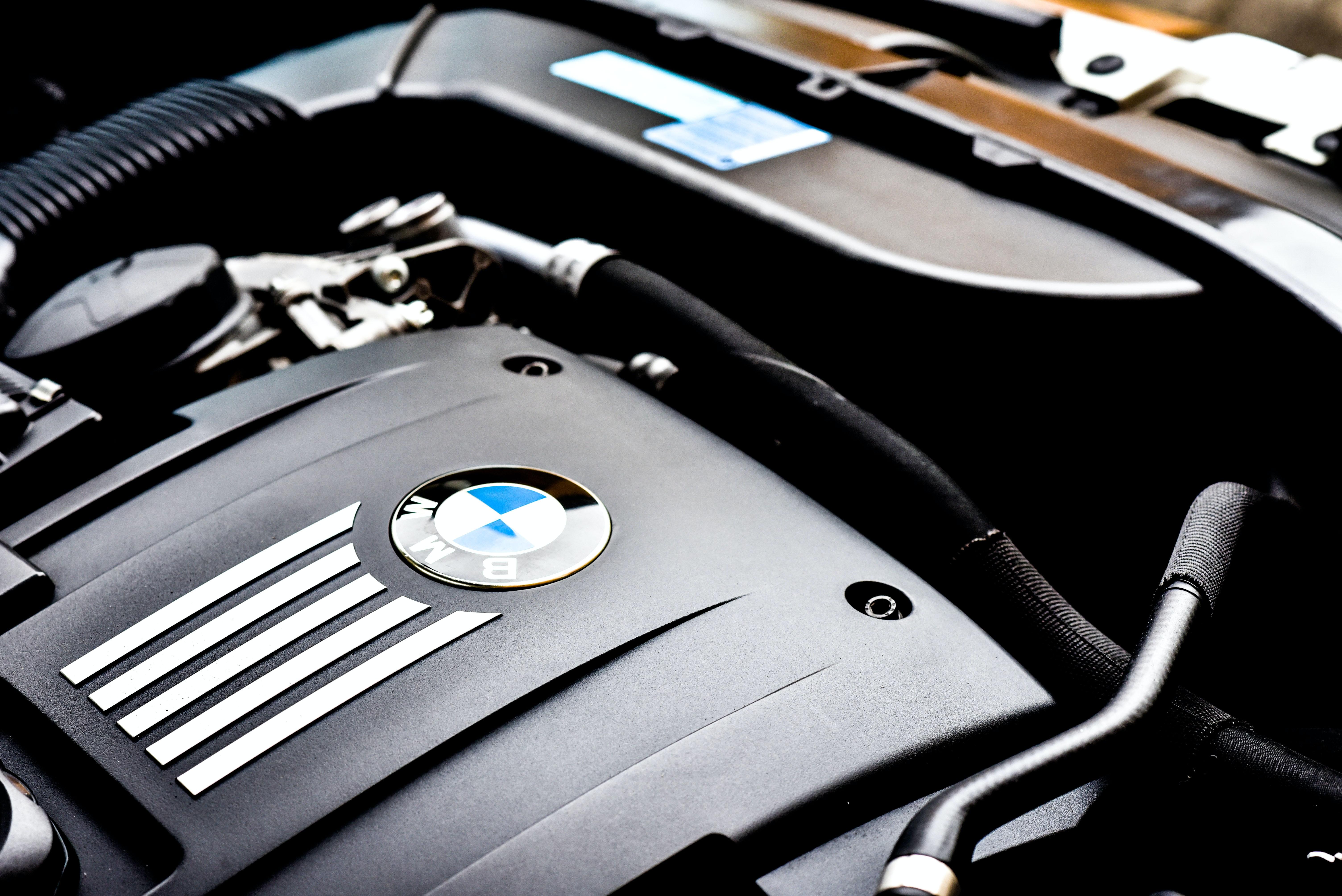 black BMW vehicle engine