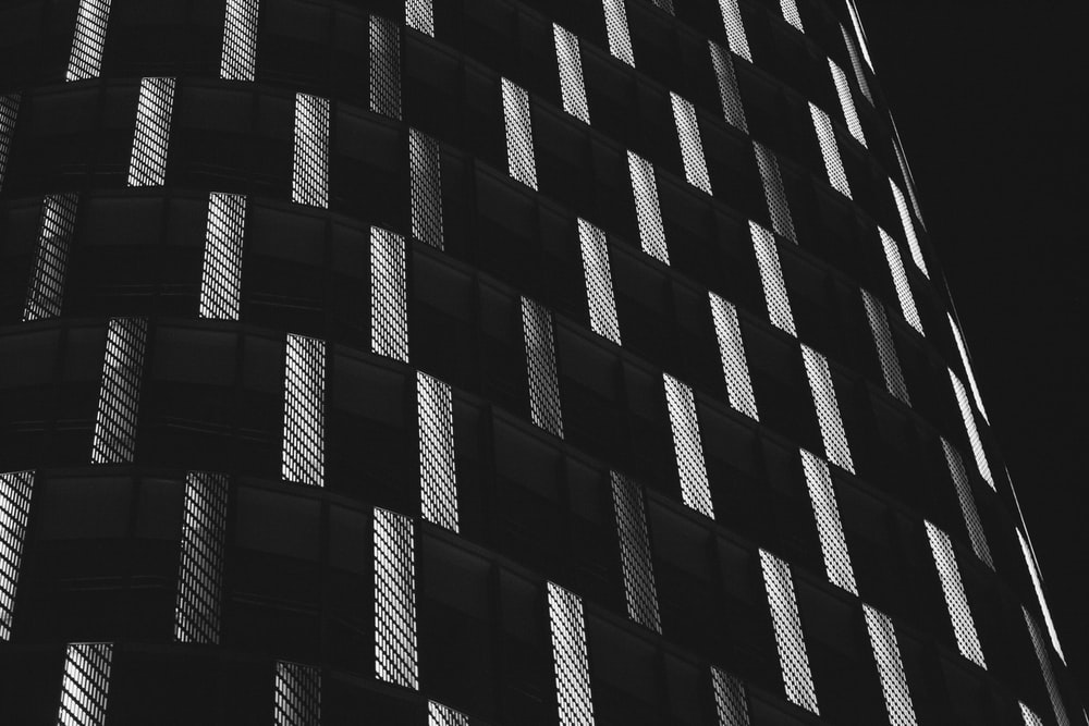 black and white concrete building