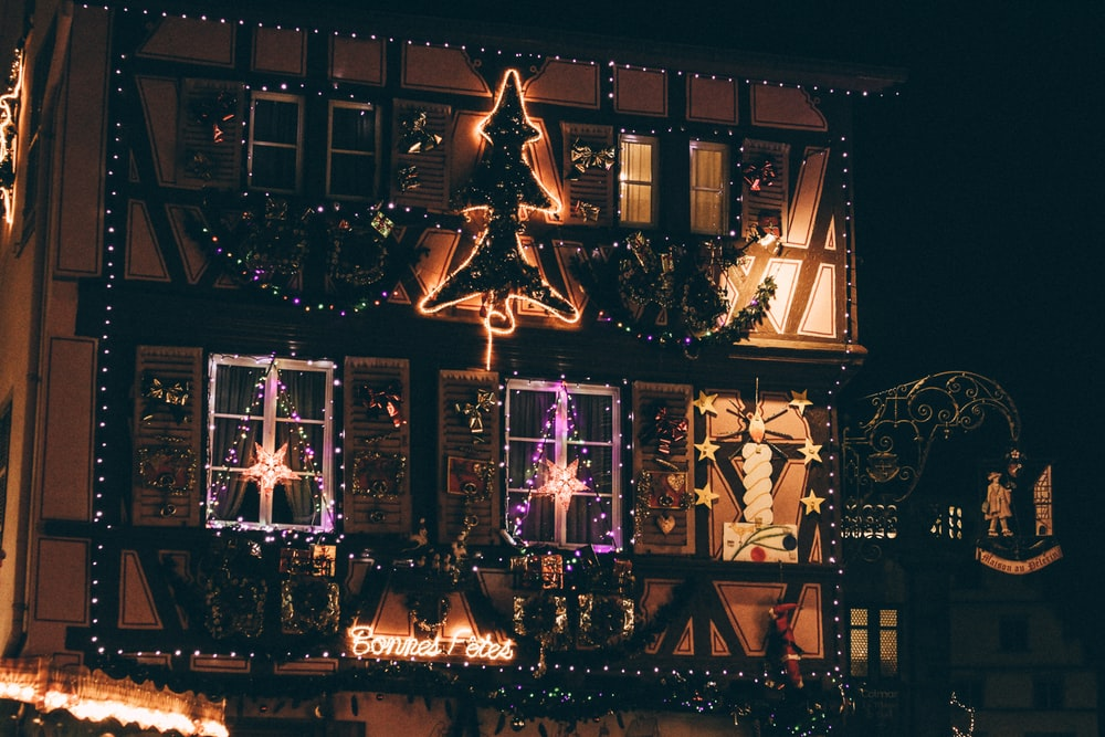 houses with Christmas tree and sweet tweets