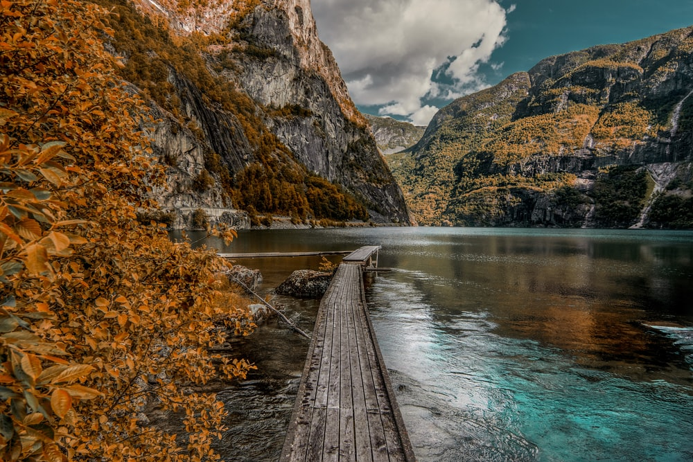 brown wooden dock near mountain during daytime
