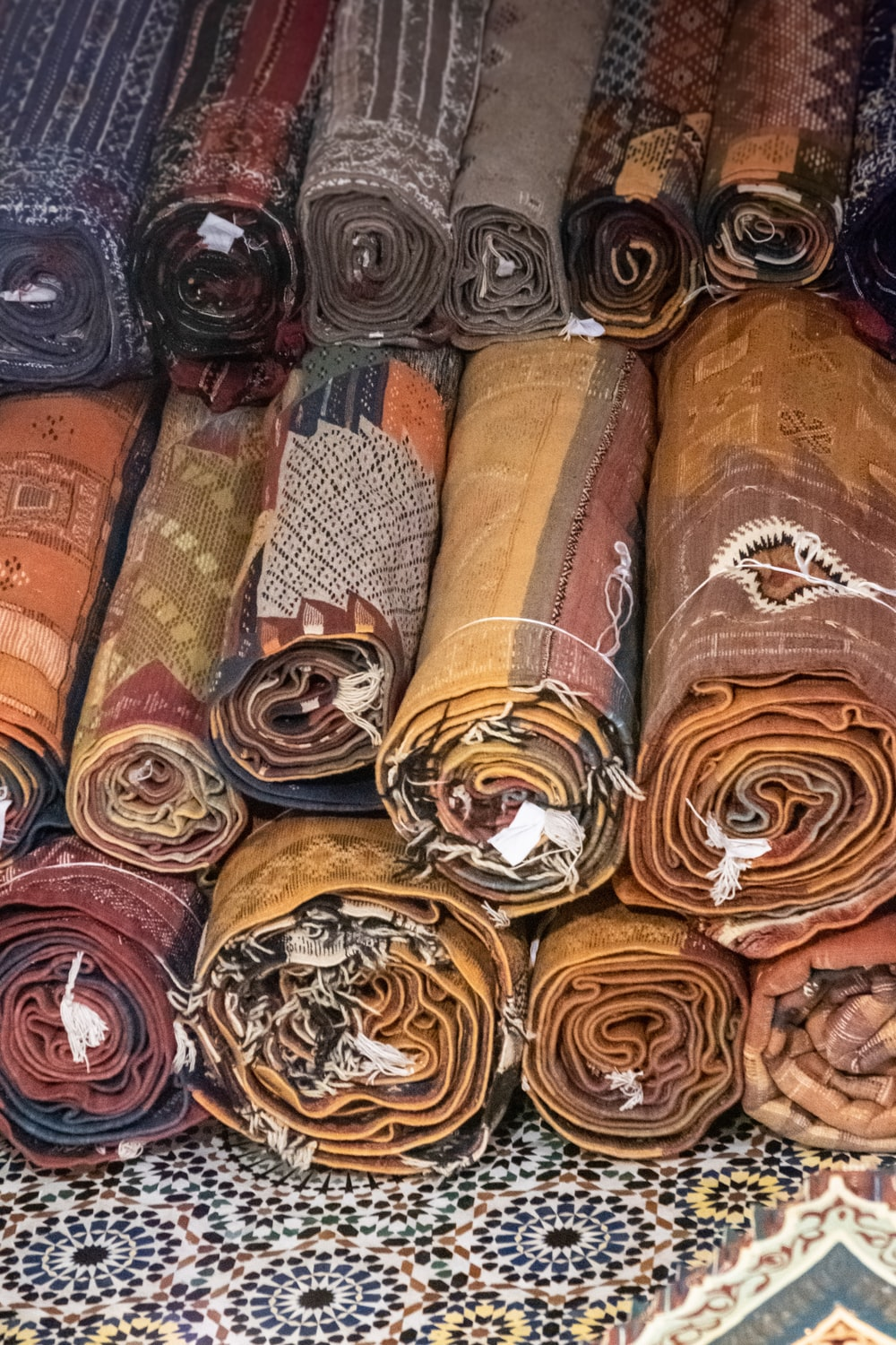 brown and gray textiles