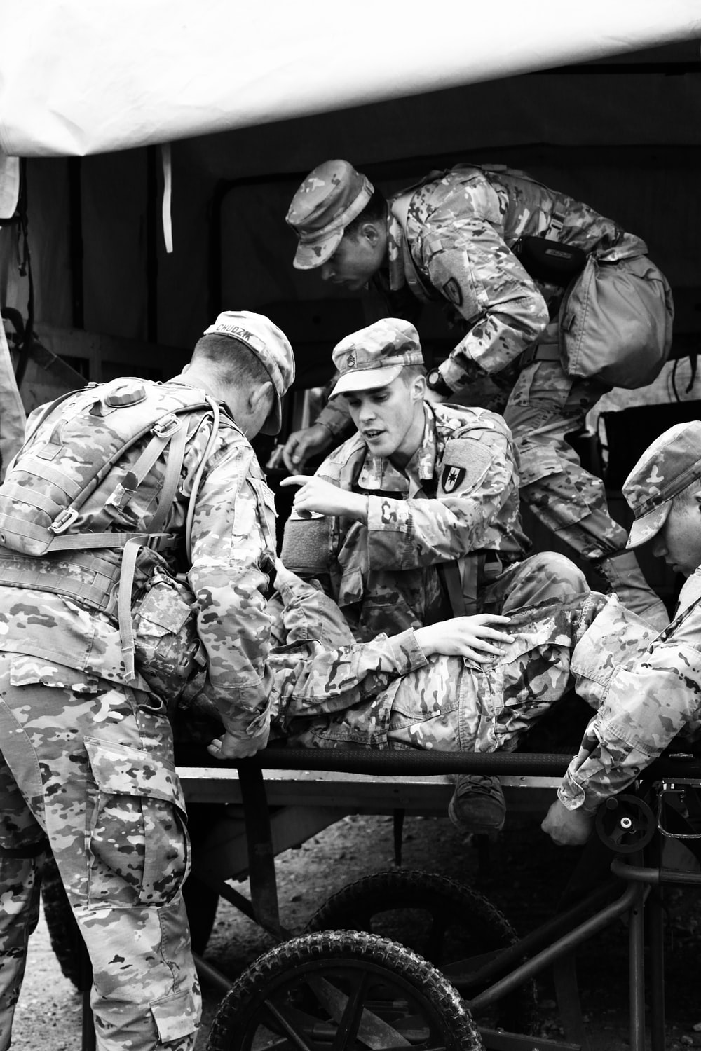 grayscale photography of army