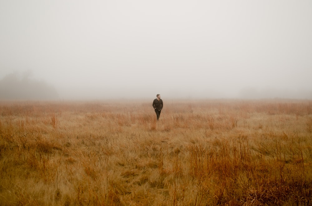 man walking surrounded by brown grass