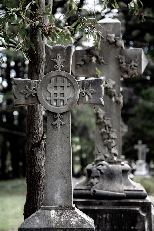 brown cross tomb
