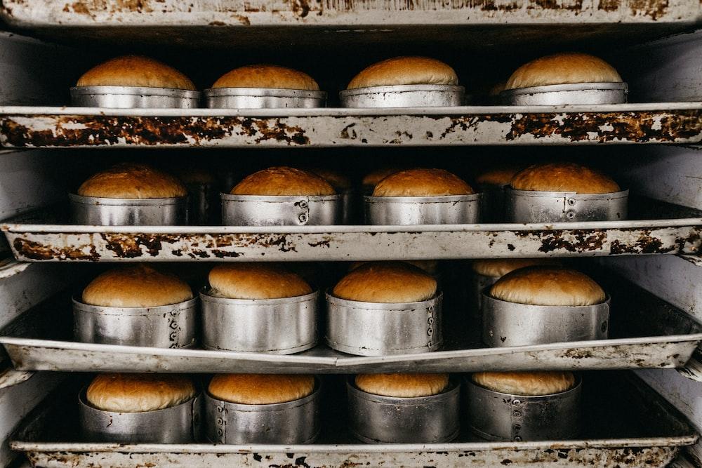 baked cake inside oven