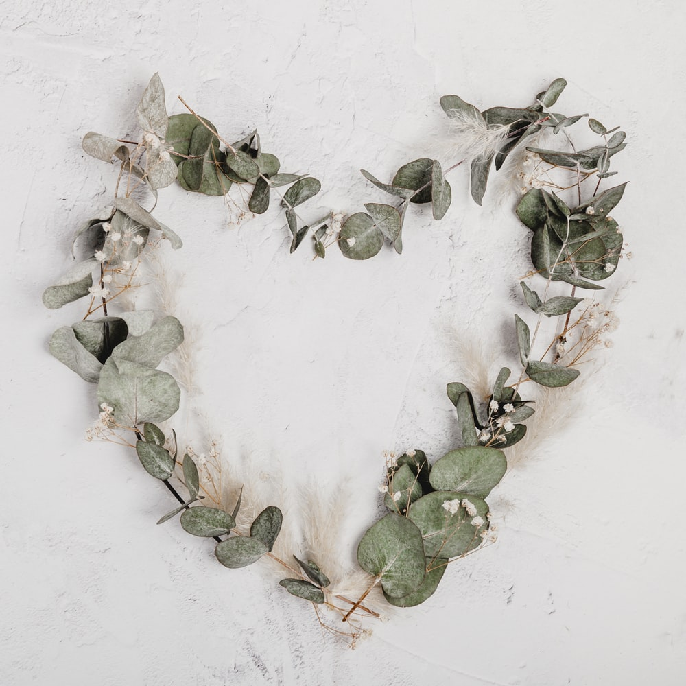 green leaf heart wreath
