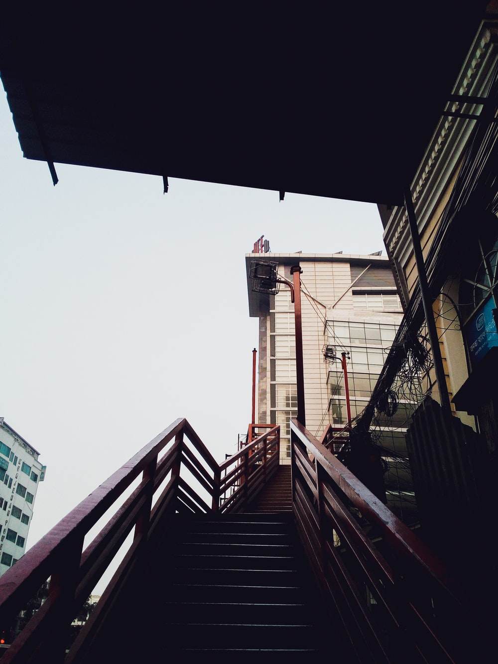 empty brown stairs at daytime