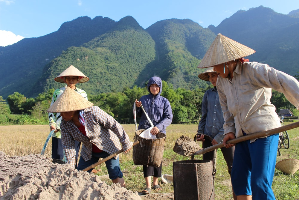 people digging soil near mountains during daytime