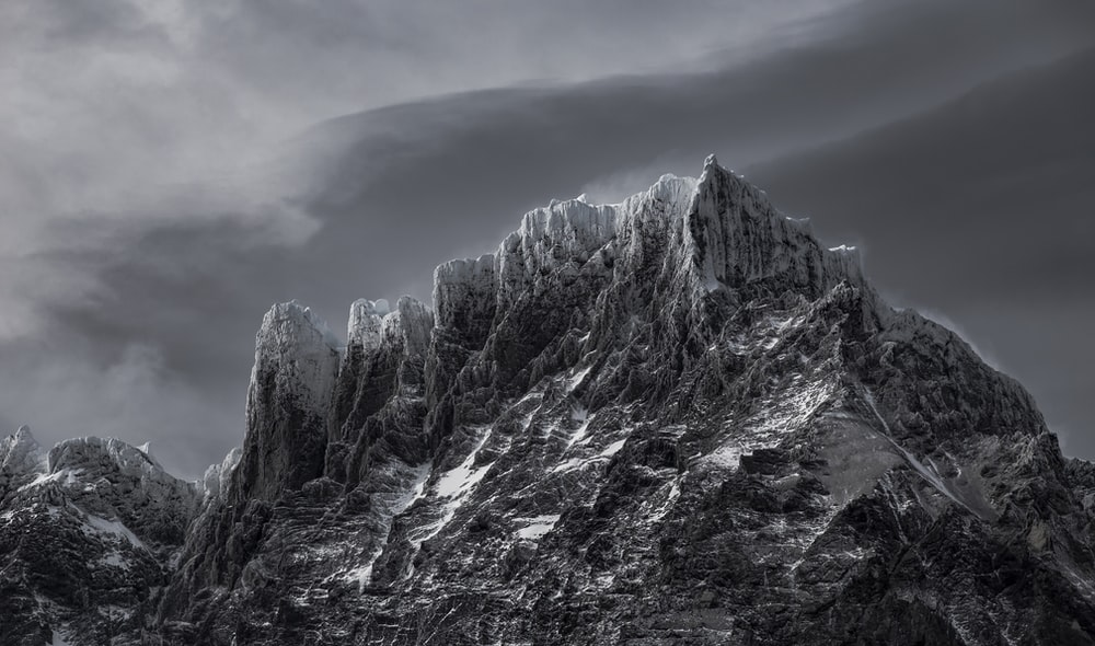 grayscale photography of mountain