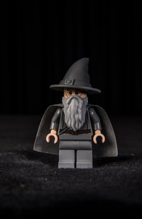 black and gray Lego minifig