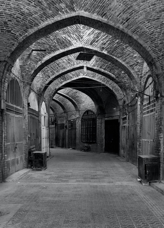 empty hallway grayscale photo