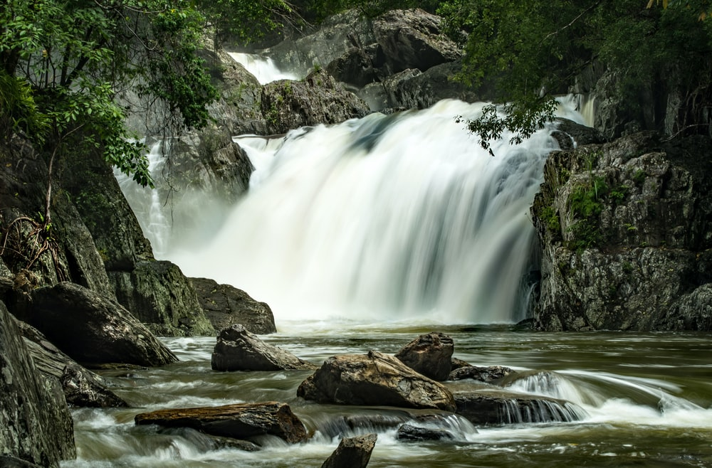 cascading waterfalls at middle of forest