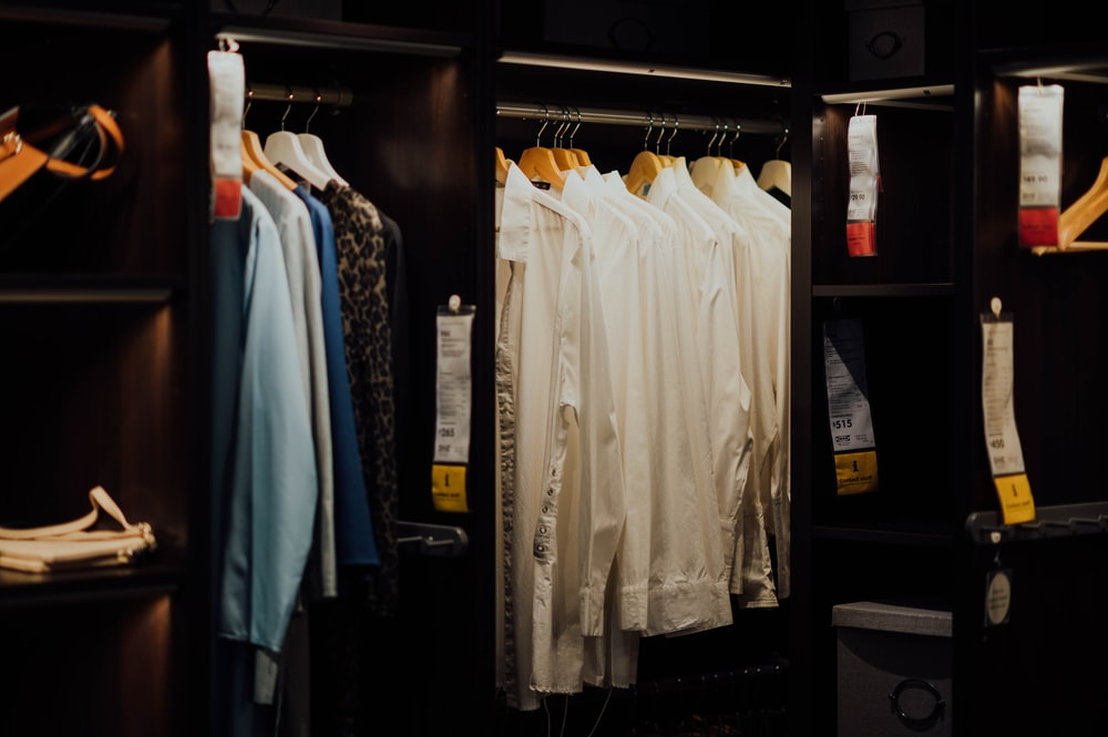 hanged clothes in closet