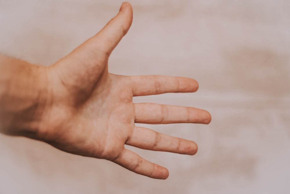 person showing left hand