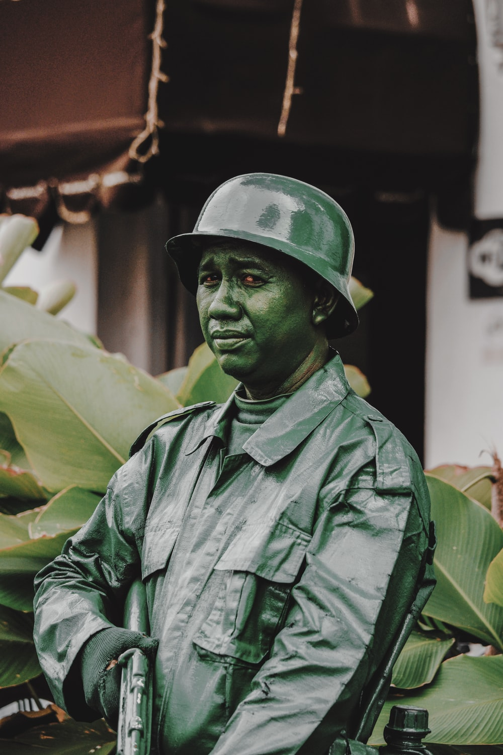 man in military costume standing
