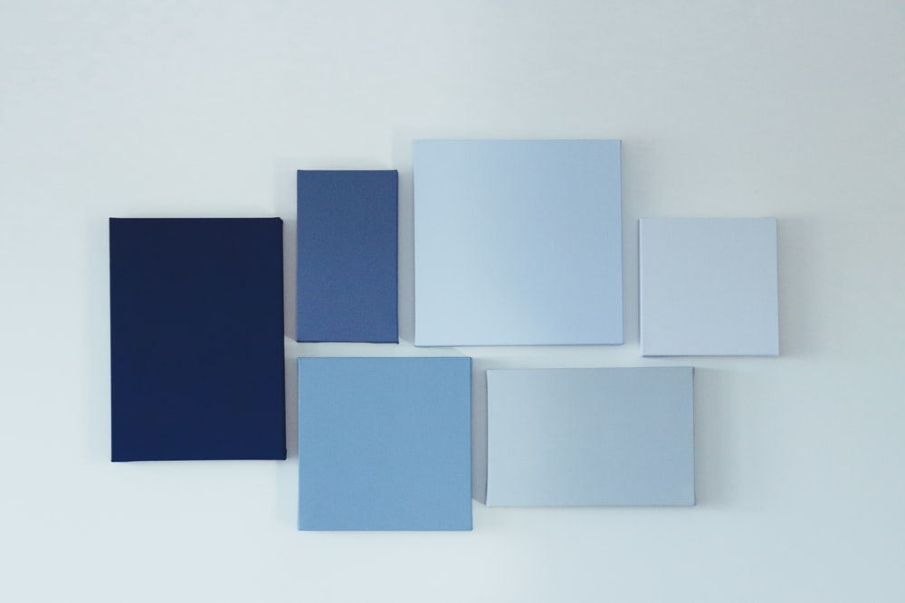 white and blue collage photo frame