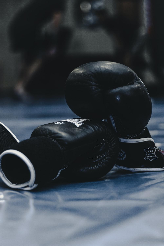 pair of black boxing gloves