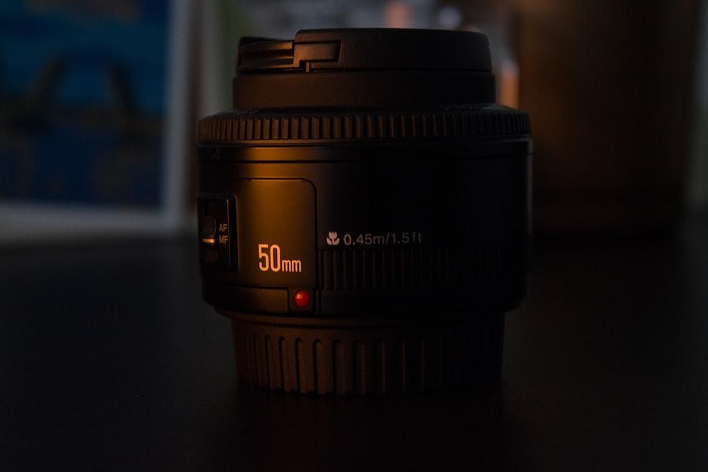 black 50mm camera lens