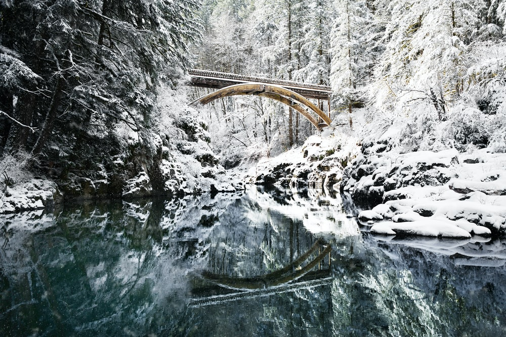 bridge under snowy mountain