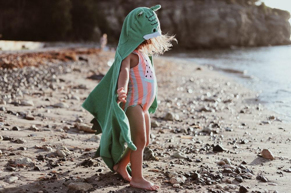 toddler's white and orange swimwear