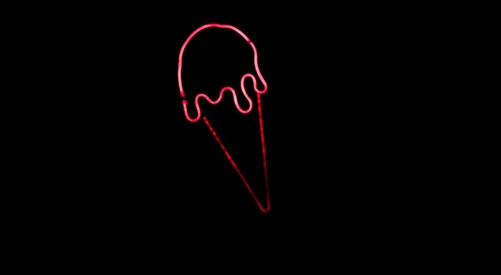 red ice cream neon figurine