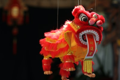 hanging red dragon decor luck teams background