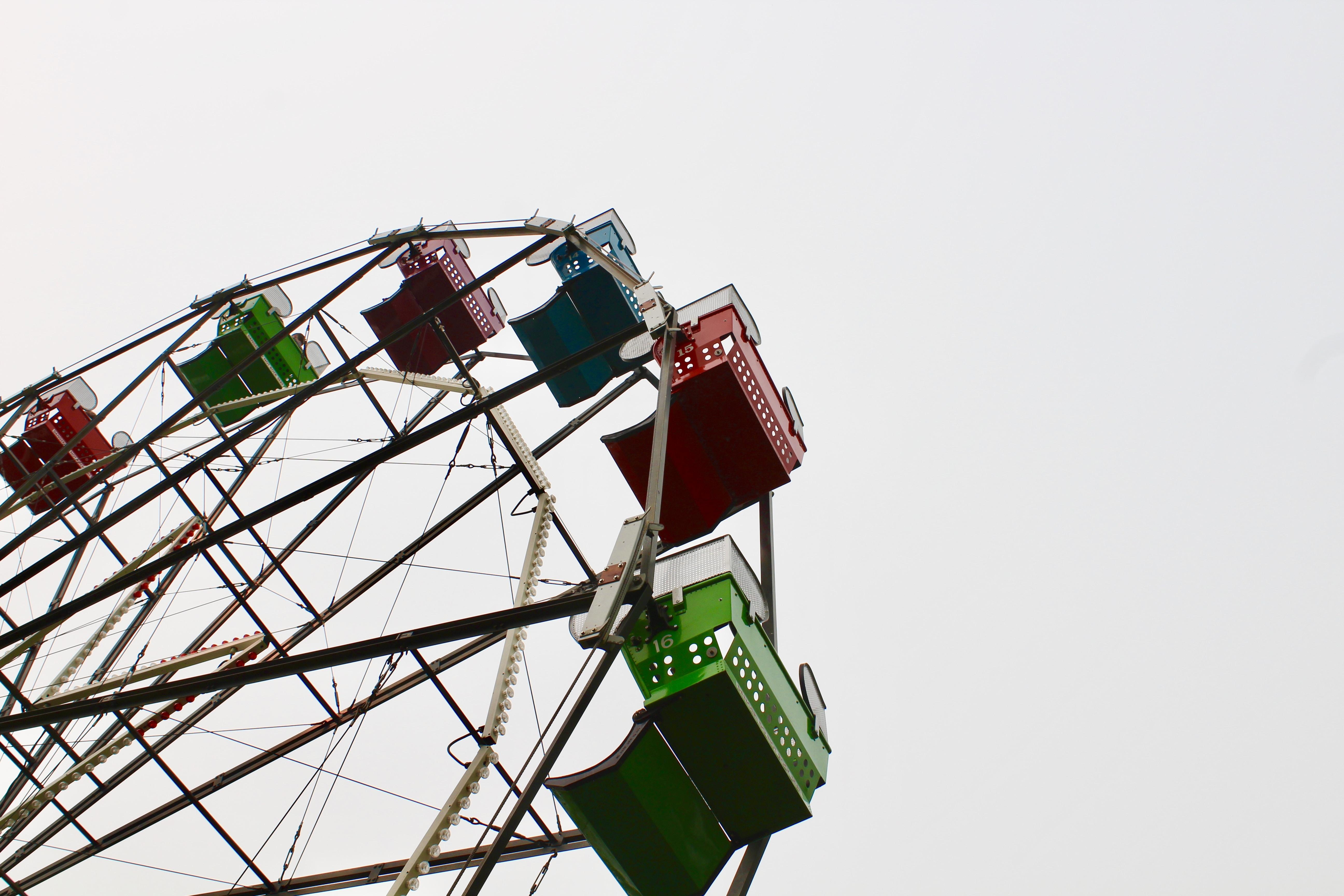 multicolored ferries wheel under white sky