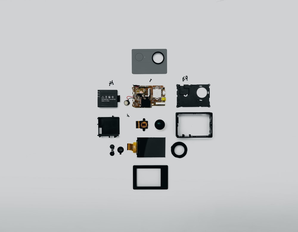 black and gray electronic device kit