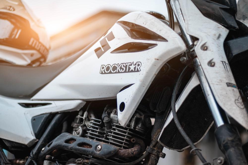 white Rockstar sports bike