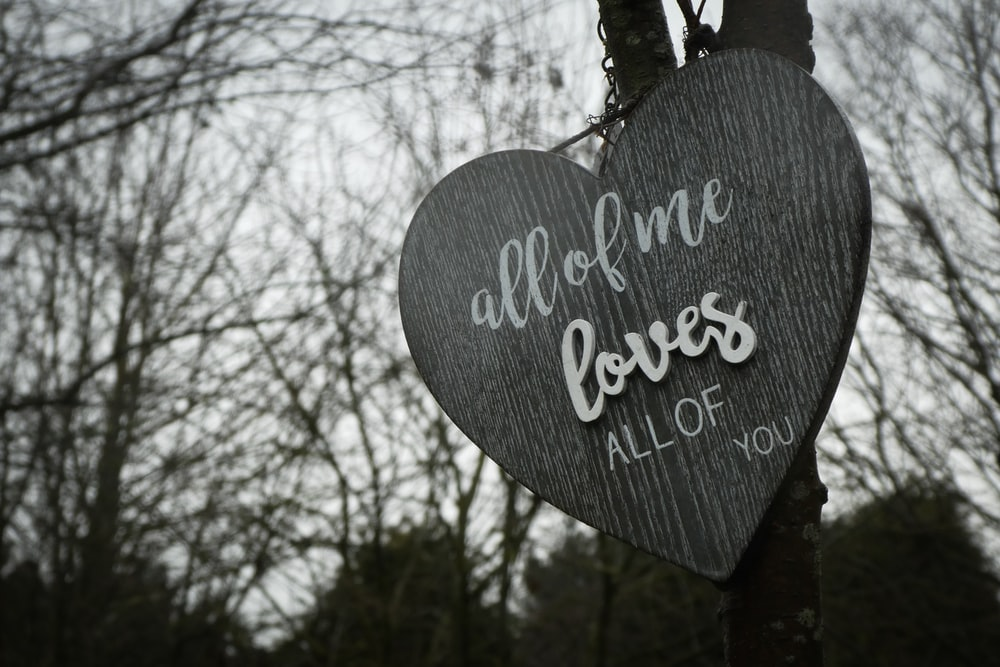 all of me loves all of you heart signage