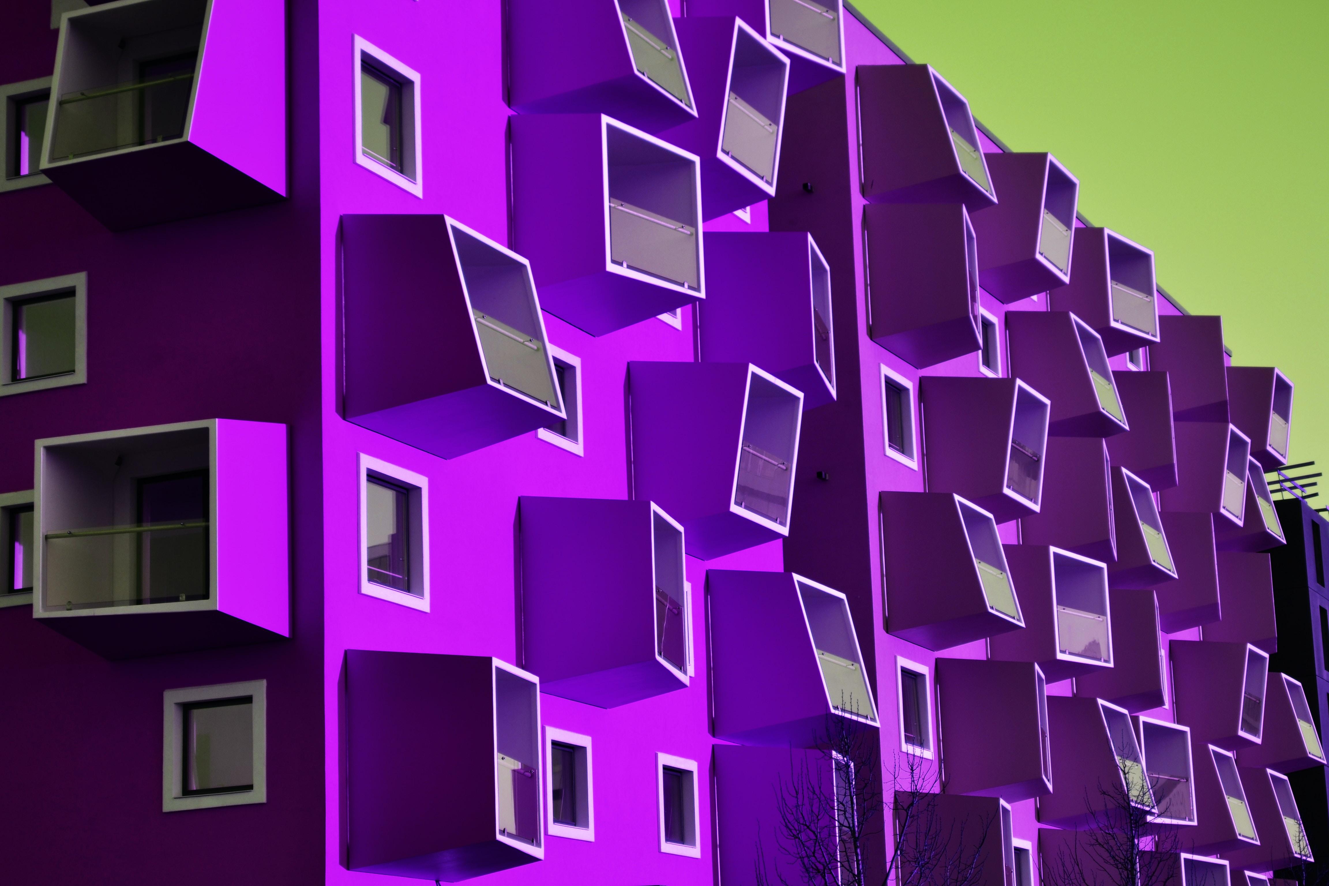 purple wooden building