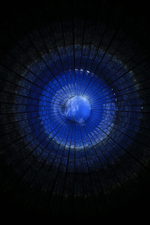 blue glass ceiling design