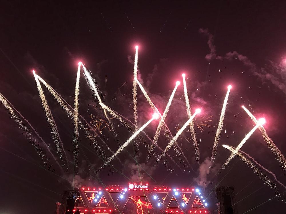 red fireworks on sky
