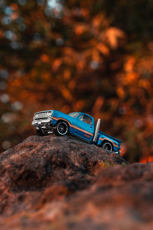 blue single cab pickup truck die cast model toy car
