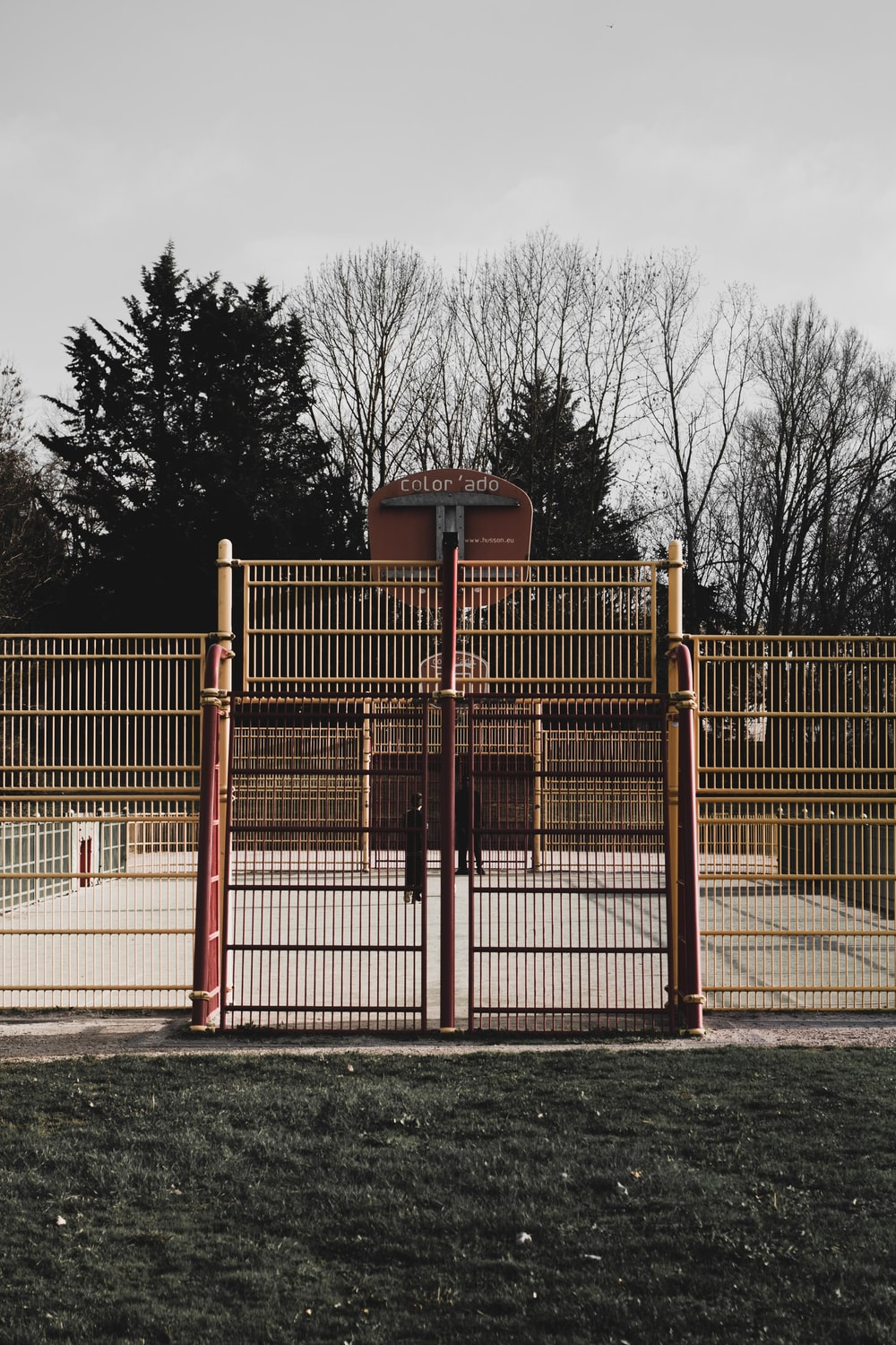 empty basketball court at daytime