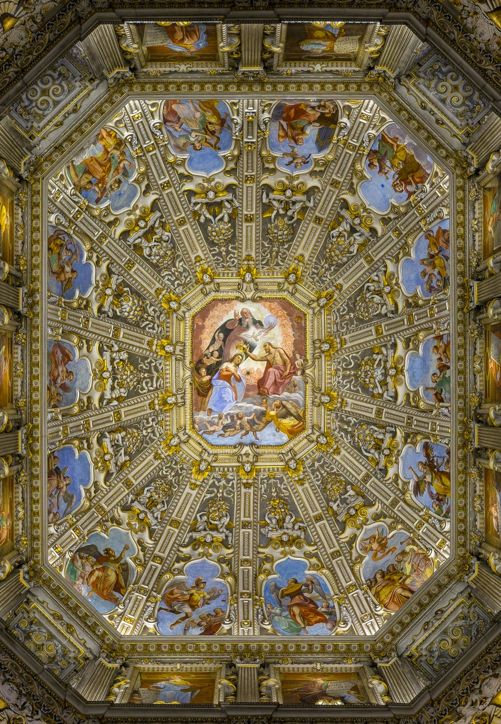 brown and blue religious ceiling paint
