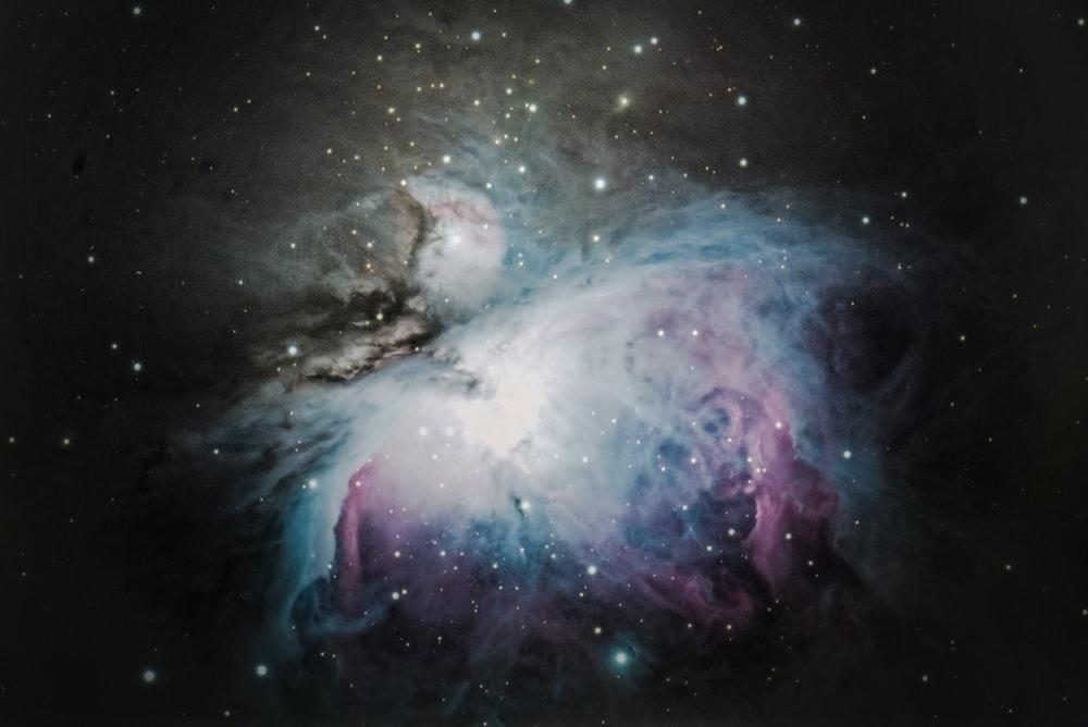 blue, grey, and purple nebula