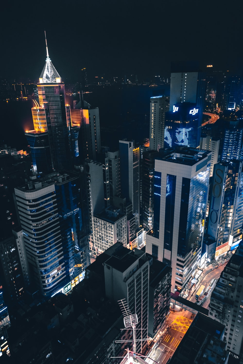 aerial view of New York City buildings during nighttime