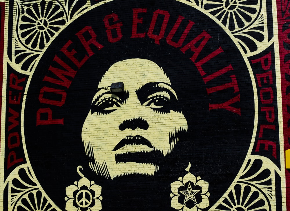 red, white, and black Power & Equality poster