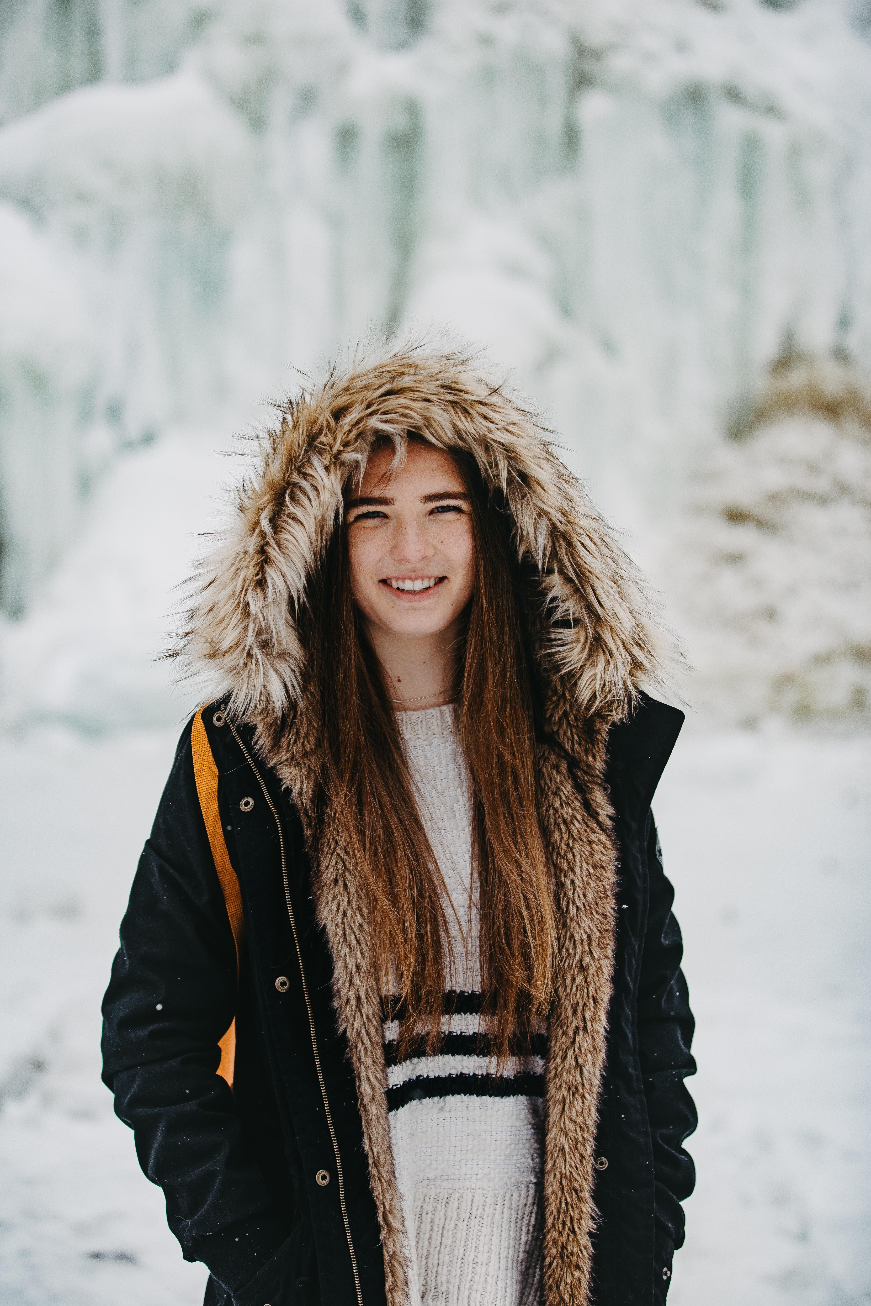 woman wearing parka coat