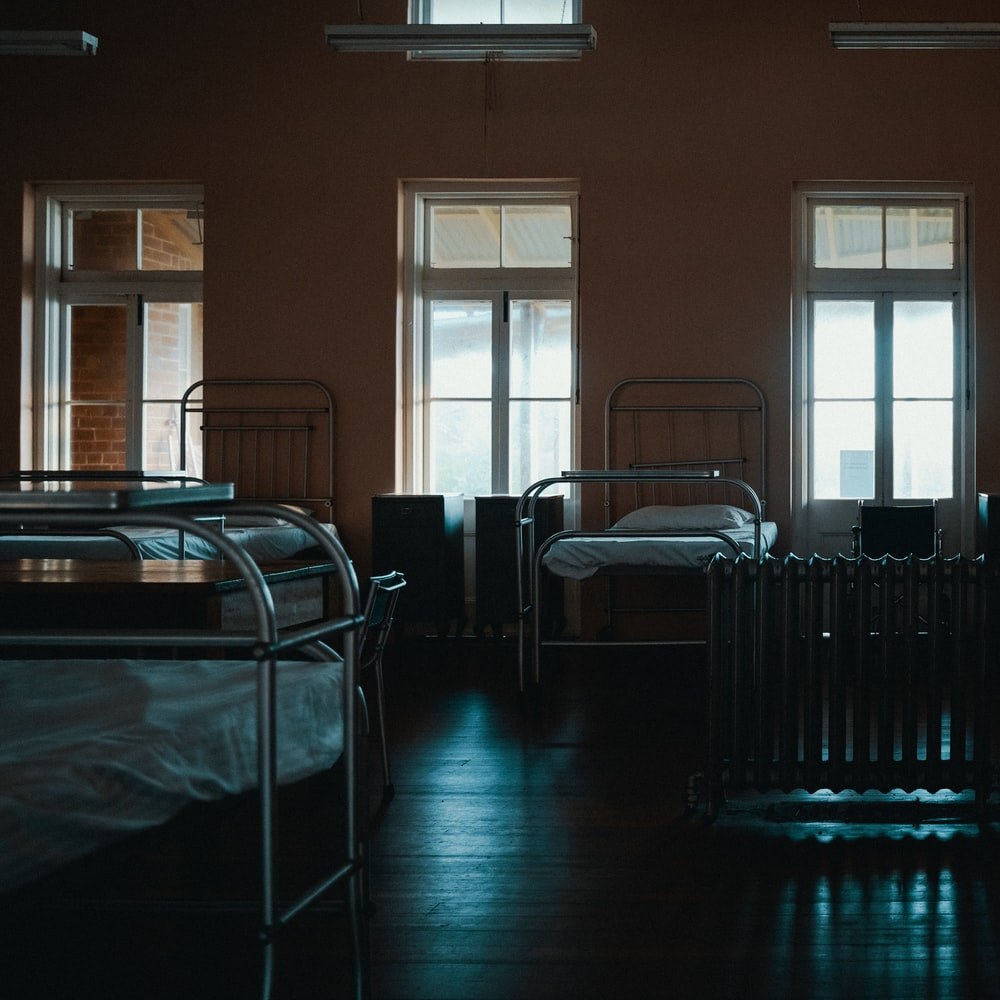 empty beds inside room